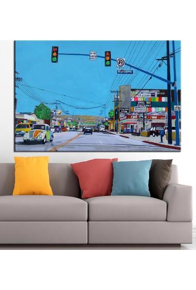 Caddeko Trafik Yağlı Boya Görünüm Kanvas Tablo dkm-k61-62-70 x 100 cm