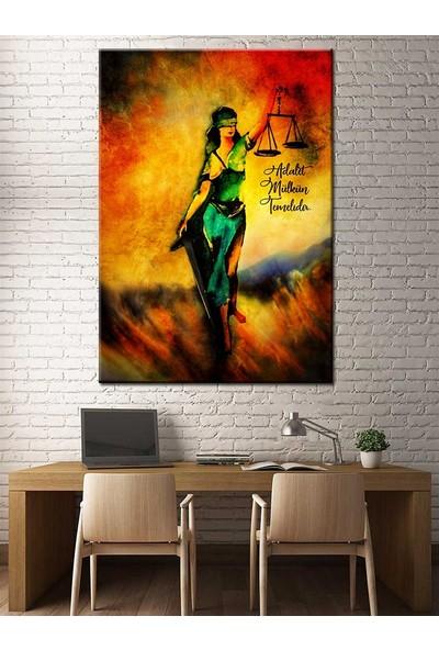 Caddeko Adalet Mülkün Temelidir Adalet Kadın Themis Figürlü Kanvas Tablo slm28-70 x 100 cm