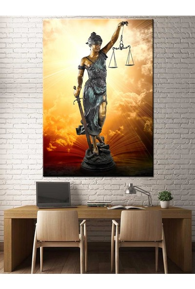 Caddeko Adalet Kadın Themis Figürlü Hukuk Bürosu İçin Kanvas Tablo slm31-70 x 100 cm