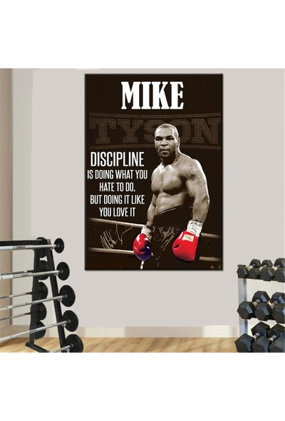 Caddeko Mike Tyson Boks Spor Motivasyon Kanvas Tablo dkmr222-70 x 100 cm