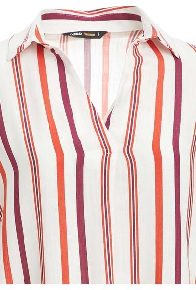 DeFacto Çizgi Detaylı Örme Regular Fit Uzun Kollu Bluz