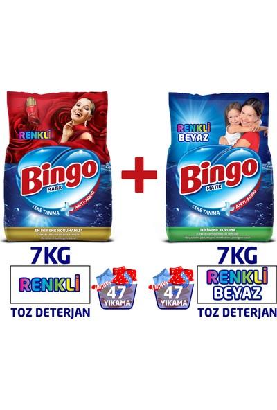 Bingo Renkli ve Renkli Beyaz Toz Çamaşır Deterjanı 7 Kg 2'li Av Pkt