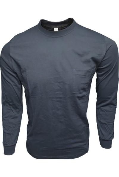 Çamdalı Iş Elbiseleri Bisiklet Yaka Lacivert Uzun Kollu Sweatshirt Süprem 0 Yaka Cepli Iş Tişörtü