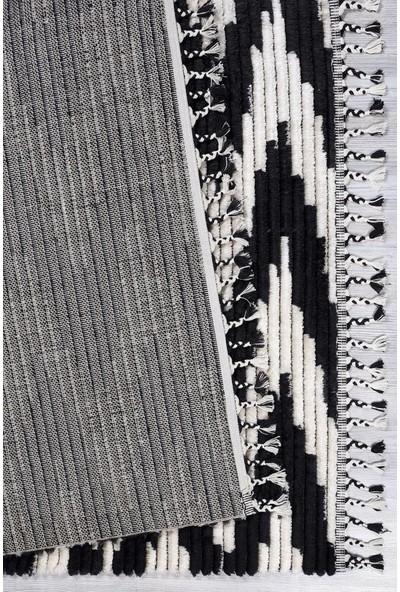 Kuga Butik Siyah Beyaz Dokuma Post Halı 2733