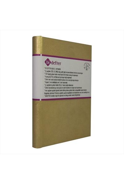 Bi Defter Altın Rengi Kumaş ile Ciltli Defter El Yapımı El Dikişi İplik Dikiş 200 Sayfa Noktalı 10 x 14 cm