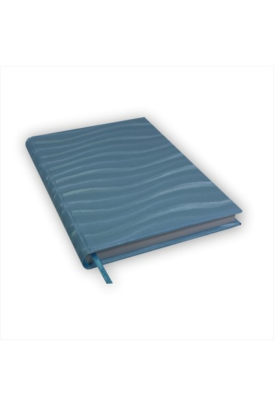 Bi Defter Fantezi Kağıt Ciltleme Defter El Yapımı El Dikişi İplik Dikiş Mavi Renkli 200 Sayfa Noktalı 14 x 20 cm