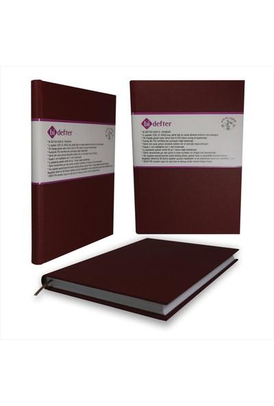 Bi Defter Gerçek Cilt Bezi Defter El Yapımı El Dikişi İplik Dikiş Bordo Rengi 200 Sayfa Noktalı 10 x 14 cm