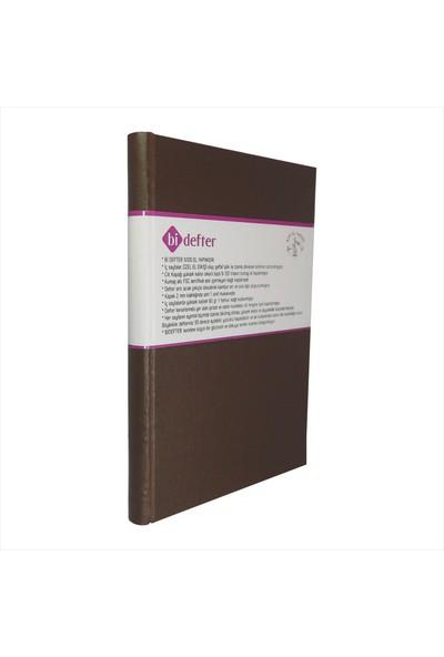 Bi Defter Gerçek Cilt Bezi Defter El Yapımı El Dikişi İplik Dikiş Kahve Rengi 200 Sayfa Noktalı 14 x 20 cm