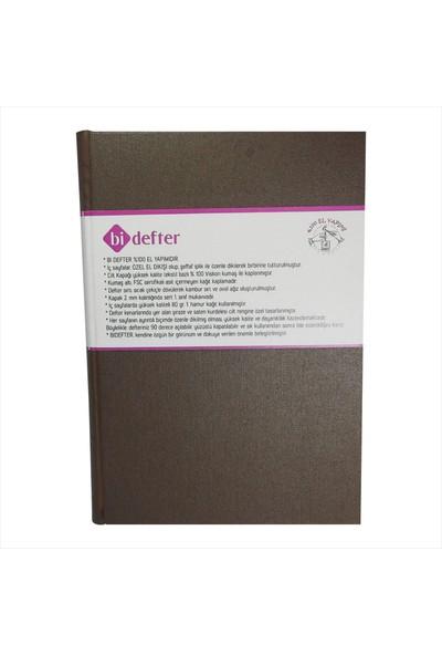 Bi Defter Gerçek Cilt Bezi Defter El Yapımı El Dikişi İplik Dikiş Kahverengi 200 Sayfa Noktalı 10 x 14 cm