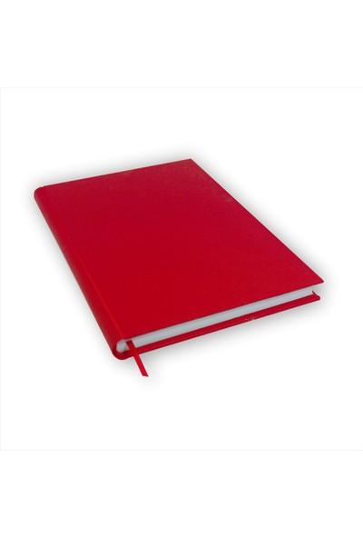 Bi Defter Gerçek Cilt Bezi Defter El Yapımı El Dikişi İplik Dikiş Kırmızı Ciltli 200 Sayfa Noktalı 10 x 14 cm