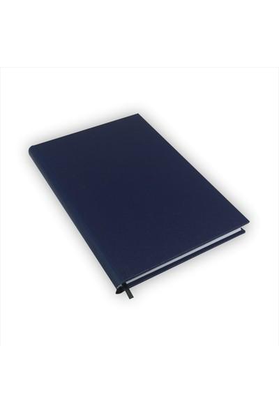 Bi Defter Gerçek Cilt Bezi Defter El Yapımı El Dikişi İplik Dikiş Lacivert Ciltli 200 Sayfa Noktalı 10 x 14 cm