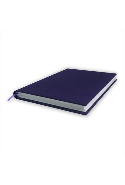 Bi Defter Gerçek Cilt Bezi Defter El Yapımı El Dikişi İplik Dikiş Lacivert Renkli 200 Sayfa Noktalı 14 x 20 cm