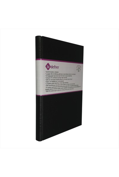 Bi Defter Gerçek Cilt Bezi Defter El Yapımı El Dikişi İplik Dikiş Siyah Ciltli 200 Sayfa Noktalı 10 x 14 cm