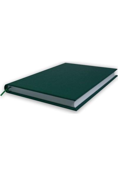 Bi Defter Gerçek Cilt Bezi Defter El Yapımı El Dikişi İplik Dikiş Yeşil Ciltli 200 Sayfa Noktalı 10 x 14 cm
