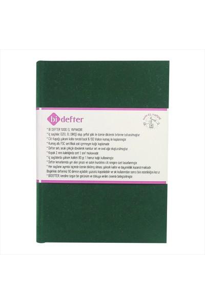 Bi Defter Kadife Kumaş Ciltli Defter El Yapımı El Dikişi İplik Dikiş Yeşil 200 Sayfa Noktalı 10 x 14 cm