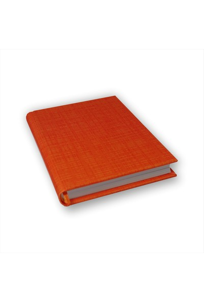Bi Defter Kendinden Desenli Turuncu Renkli Kumaş Ciltli Defter El Yapımı El Dikişi İplik Dikiş 200 Sayfa Noktalı 10 x 14 cm