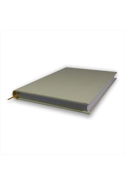 Bi Defter Keten Kumaş Ciltli Defter El Yapımı El Dikişi İplik Dikiş 200 Sayfa Noktalı 10 x 14 cm