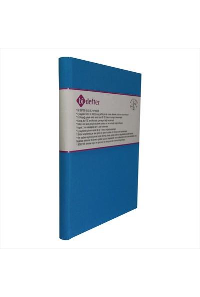 Bi Defter Kumaş Ciltli Defter El Yapımı El Dikişi İplik Dikiş Açık Mavi Renkli Kumaş 200 Sayfa Noktalı 14 x 20 cm