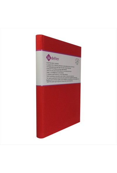 Bi Defter Kumaş Ciltli Defter El Yapımı El Dikişi İplik Dikiş Bayrak Kırmızı Renkli 200 Sayfa Noktalı 10 x 14 cm