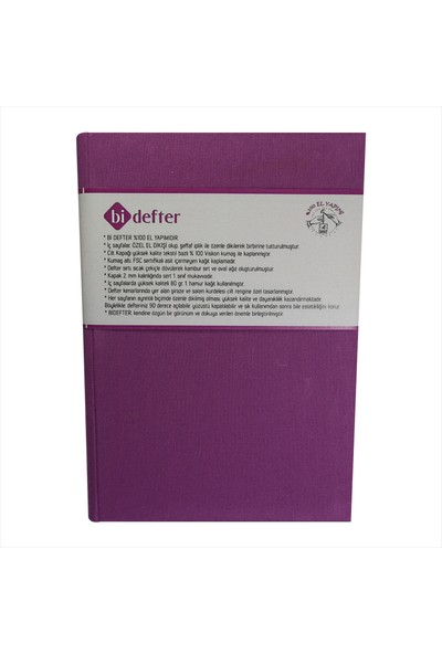 Bi Defter Kumaş Ciltli Defter El Yapımı El Dikişi İplik Dikiş Cilt Lila Rengi Kumaş 200 Sayfa Noktalı 10 x 14 cm