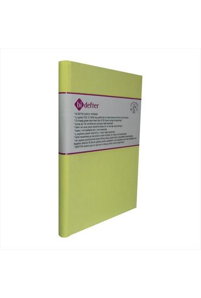Bi Defter Kumaş Ciltli Defter El Yapımı El Dikişi İplik Dikiş Cilt Limon Sarısı Kumaş 200 Sayfa Noktalı 10 x 14 cm