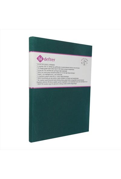 Bi Defter Kumaş Ciltli Defter El Yapımı El Dikişi İplik Dikiş Ördek Yeşili Kumaş 200 Sayfa Noktalı 14 x 20 cm