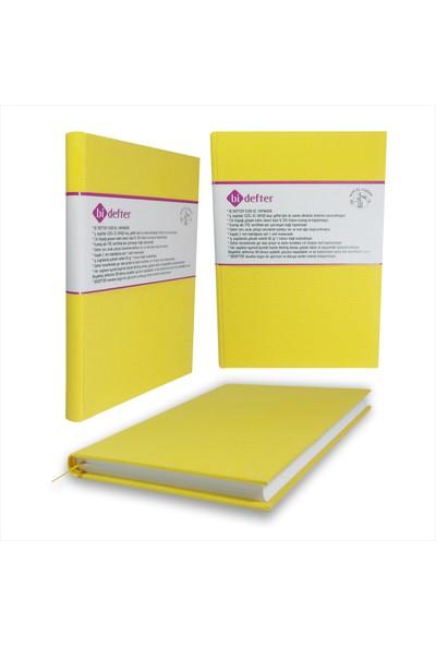 Bi Defter Kumaş Ciltli Defter El Yapımı El Dikişi İplik Dikiş Cilt Sarı Renkli 200 Sayfa Noktalı 10 x 14 cm