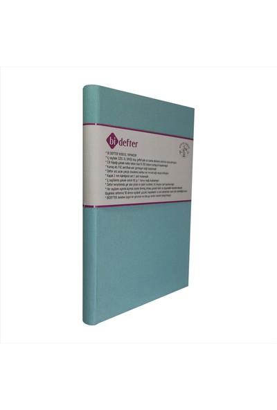 Bi Defter Kumaş Ciltli Defter El Yapımı El Dikişi İplik Dikiş Cilt Turkuaz Rengi 200 Sayfa Noktalı 10 x 14 cm