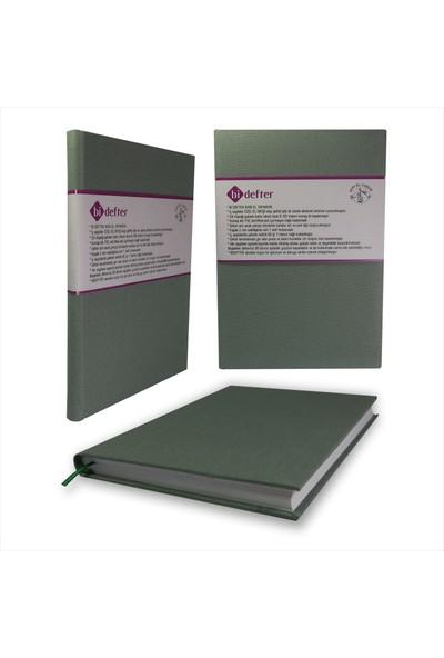 Bi Defter Kumaş Ciltli Defter El Yapımı El Dikişi İplik Dikiş Çağla Gri Rengi 200 Sayfa Noktalı 10 x 14 cm