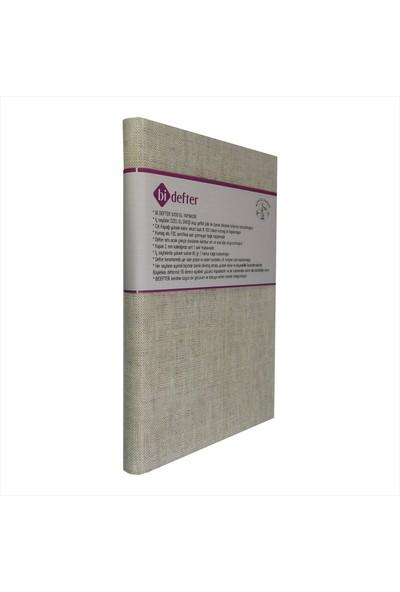 Bi Defter Kumaş Ciltli Defter El Yapımı El Dikişi İplik Dikiş Deseni Keten Kumaş 200 Sayfa Noktalı 14 x 20 cm