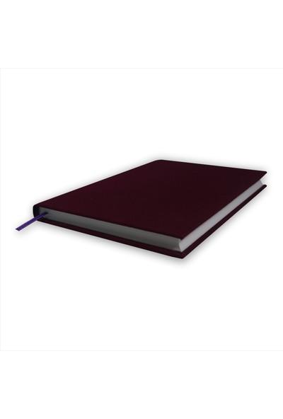 Bi Defter Kumaş Ciltli Defter El Yapımı El Dikişi İplik Dikiş Dut Rengi Kumaş 200 Sayfa Noktalı 14 x 20 cm