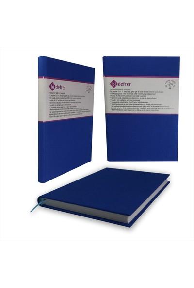 Bi Defter Kumaş Ciltli Defter El Yapımı El Dikişi İplik Dikiş Ege Mavisi 200 Sayfa Noktalı 10 x 14 cm
