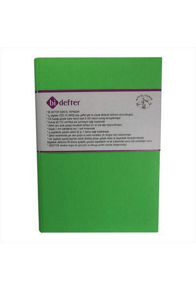 Bi Defter Kumaş Ciltli Defter El Yapımı El Dikişi İplik Dikiş Fıstık Yeşili 200 Sayfa Noktalı 10 x 14 cm