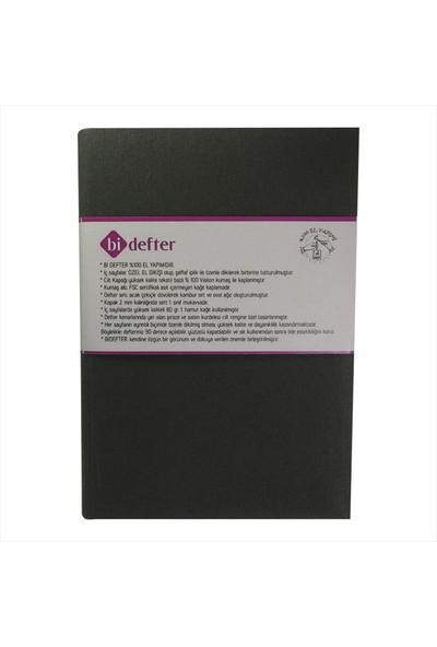 Bi Defter Kumaş Ciltli Defter El Yapımı El Dikişi İplik Dikiş Füme Rengi Kumaş 200 Sayfa Noktalı 14 x 20 cm