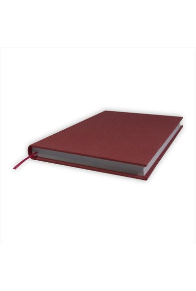 Bi Defter Kumaş Ciltli Defter El Yapımı El Dikişi İplik Dikiş Gül Kurusu 200 Sayfa Noktalı 10 x 14 cm