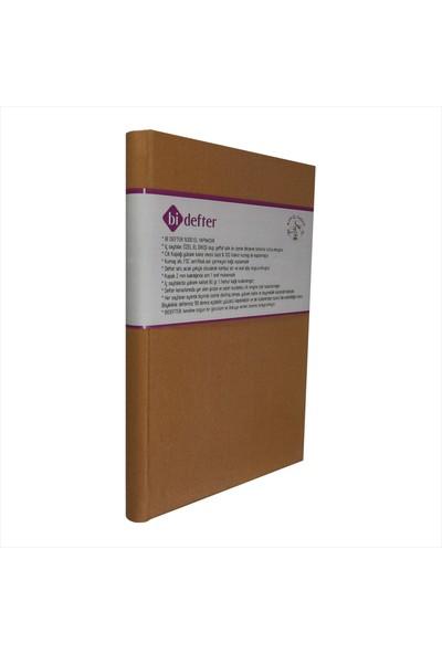 Bi Defter Kumaş Ciltli Defter El Yapımı El Dikişi İplik Dikiş Kahverengi 200 Sayfa Noktalı 10 x 14 cm