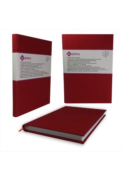Bi Defter Kumaş Ciltli Defter El Yapımı El Dikişi İplik Dikiş Kiremit Kırmızı 200 Sayfa Noktalı 10 x 14 cm