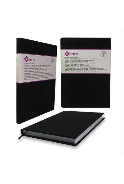 Bi Defter Kumaş Ciltli Defter El Yapımı El Dikişi İplik Dikiş Koyu Siyah 200 Sayfa Noktalı 10 x 14 cm