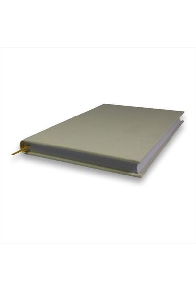 Bi Defter Kumaş Ciltli Defter El Yapımı El Dikişi İplik Dikiş Krem Renkli Kumaş 200 Sayfa Noktalı 14 x 20 cm