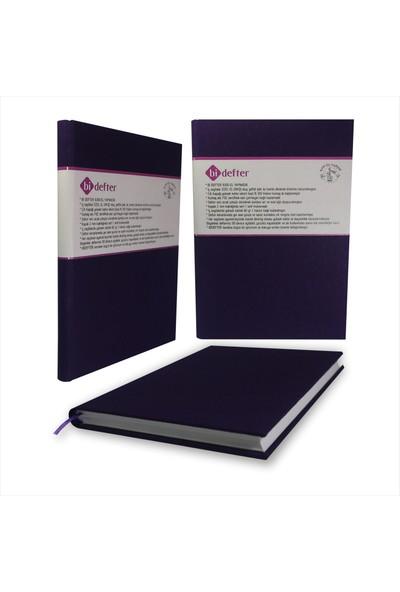 Bi Defter Kumaş Ciltli Defter El Yapımı El Dikişi İplik Dikiş Lacivert Renkli 200 Sayfa Noktalı 10 x 14 cm