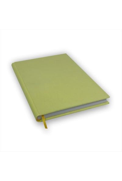 Bi Defter Kumaş Ciltli Defter El Yapımı El Dikişi İplik Dikiş Limon Rengi Kumaş 200 Sayfa Noktalı 14 x 20 cm