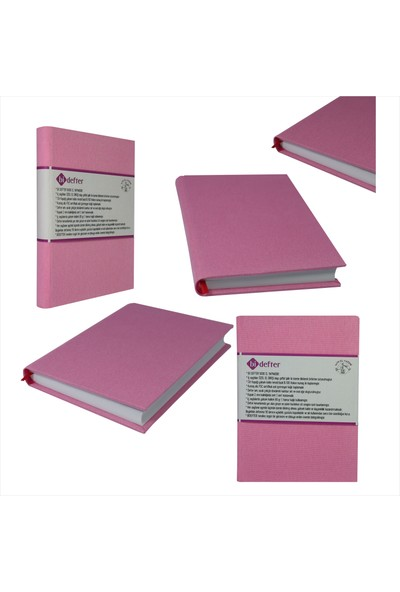 Bi Defter Kumaş Ciltli Defter El Yapımı El Dikişi İplik Dikiş Pembe Renkli Kumaş 200 Sayfa Noktalı 10 x 14 cm