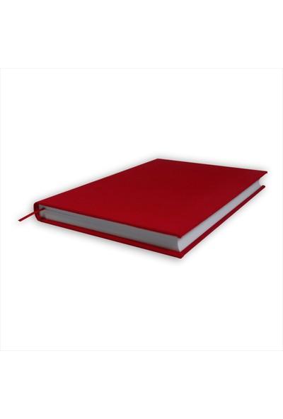 Bi Defter Kumaş Ciltli Defter El Yapımı El Dikişi İplik Dikiş Vişne Rengi Kumaş 200 Sayfa Noktalı 14 x 20 cm