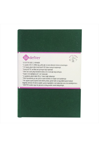 Bi Defter Kumaş Ciltli Defter El Yapımı El Dikişi İplik Dikiş Yeşil Kadife Kumaş 200 Sayfa Noktalı 14 x 20 cm