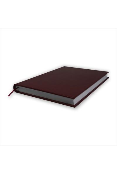 Bi Defter Termo Deri Ciltli Defter El Yapımı El Dikişi İplik Dikiş Bordo Renkli 200 Sayfa Noktalı 10 x 14 cm