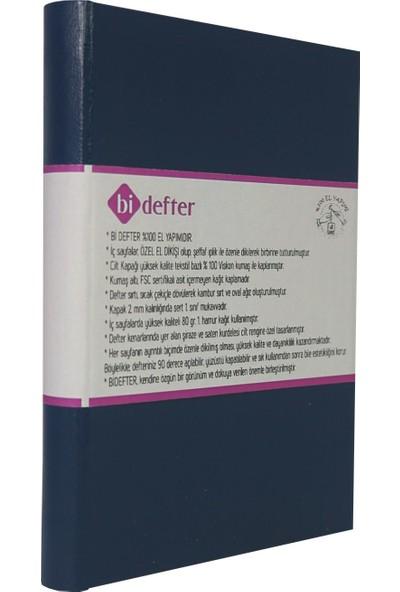 Bi Defter Termo Deri Ciltli Defter El Yapımı El Dikişi İplik Dikiş Lacivert Renkli 200 Sayfa Noktalı 10 x 14 cm