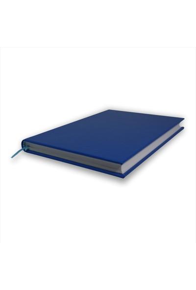 Bi Defter Termo Deri Ciltli Defter El Yapımı El Dikişi İplik Dikiş Mavi Renkli 200 Sayfa Noktalı 10 x 14 cm