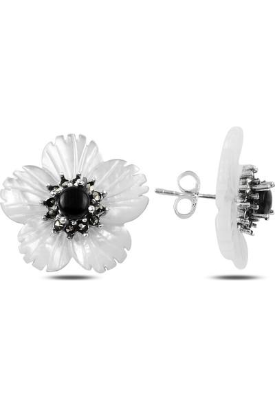 Zuk Collection Gümüş Sedef & Markazit Taşlı Çiçek Küpe