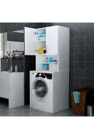 By Golden Banyo ve Çamaşır Makinası Dolabı 2 Kapaklı Raflı