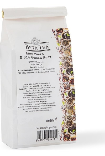 Beta Tea Golden Puerh Çayı 50 gr